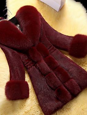 رخيصةأون فساتين سهرة-نسائي مناسب للبس اليومي طويلة معطف من الفرو الصناعي, لون سادة V رقبة كم طويل فرو أسود / نبيذ / أبيض