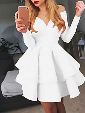 billige Bryllup & Eventer-Dame Kjole med A-linje Knelang kjole - Langermet Ensfarget Multi Layer Sexy Cocktailfest Hvit Svart Rød S M L XL XXL