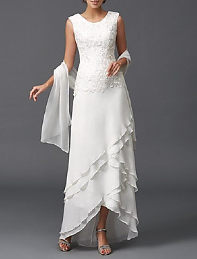 cheap The Wedding Store-A-Line Mother of the Bride Dress Wrap Included Jewel Neck Floor Length Chiffon Sleeveless with Lace Tier 2020