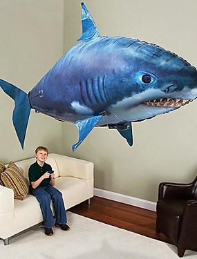 hesapli Oyuncaklar ve Hobiler-Uzaktan Kumandalı Köpek Balığı Uzaktan Kumandalı Hayvan Uçan Köpekbalığı Palyaço balığı Şişirilebilir Gerçekçi hareket Hava yüzücü PP+ABS için Hepsi Genç Erkek Genç Kız