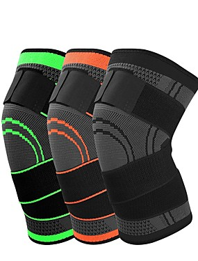 cheap Sports & Outdoors-Knee Brace Knee Sleeve 3D Weaving for Running Basketball Fitness Antiskid Moisture Wicking Compression Adjustable Men's Women's Silica Gel Nylon Lycra Spandex 1 pc Sports Practice Gym Black Orange