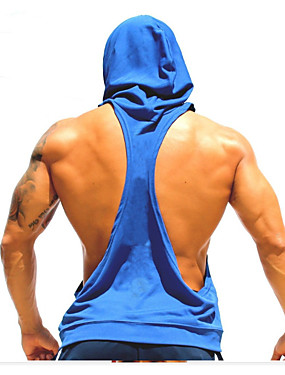 cheap Sports & Outdoors-Men's Tank Top Stringer Y Back Fashion Black Yellow Green Royal Blue Red Cotton Fitness Gym Workout Bodybuilding Vest / Gilet Hoodie Sleeveless Sport Activewear Breathable Quick Dry Comfortable
