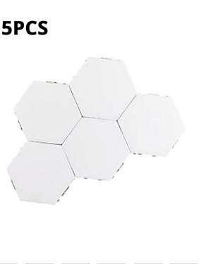 billige Originale lamper-5 sett med modulær berøringsfølsom belysning sekskantet lampe kreativ magnetisk nattlampe veggdekorasjon lampara