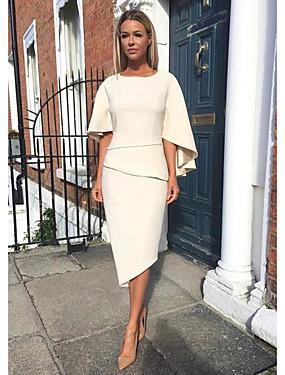 cheap Weddings & Events-Sheath / Column Mother of the Bride Dress Elegant Jewel Neck Knee Length Jersey Half Sleeve with Tier 2020