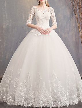 cheap Staycation-Ball Gown Jewel Neck Court Train Lace / Tulle Half Sleeve Country Plus Size / Illusion Sleeve Wedding Dresses with Lace Insert 2020