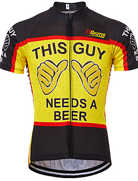 cheap Sports & Outdoors-21Grams Men's Short Sleeve Cycling Jersey Black / Red Black / Yellow Red+Blue Retro Novelty Oktoberfest Beer Bike Jersey Top Mountain Bike MTB Road Bike Cycling Breathable Quick Dry Anatomic Design