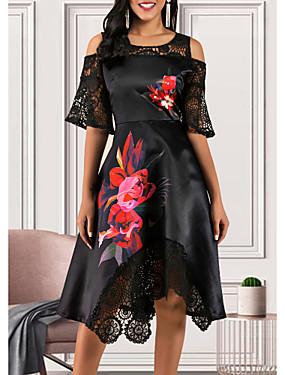 Χαμηλού Κόστους Γυναικεία Ρούχα-Γυναικεία Γραμμή Α Φόρεμα - Κοντομάνικο Φλοράλ Δαντέλα Με Βολάν Κομψό στυλ street Μαύρο M L XL XXL XXXL