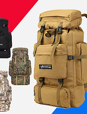 cheap Sports & Outdoors-70 L Hiking Backpack Rucksack Military Tactical Backpack Breathable Straps - Breathable Rain Waterproof Anti-tear Durable Outdoor Camping / Hiking Hunting Fishing Nylon Black Brown Yellow / Yes