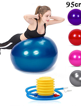cheap Sports & Outdoors-95cm Exercise Ball / Yoga Ball Professional Extra Thick Anti Slip Durable PVC Support 500 kg With Foot Pump Physical Therapy Balance Training Relieve Back Pain for Home Workout Yoga Pilates