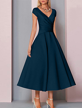 cheap The Wedding Store-A-Line Mother of the Bride Dress Elegant V Neck Tea Length Charmeuse Sleeveless with Ruching 2020