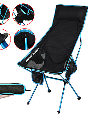cheap Sports & Outdoors-Camping Chair with Side Pocket High Back with Headrest Portable Ultra Light (UL) Foldable Comfortable Mesh 7075 Aluminium Alloy for 1 person Hunting Fishing Beach Camping Spring &  Fall Summer Blue