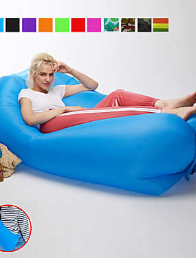 cheap Sports & Outdoors-21Grams Air Sofa Inflatable Sofa Sleep lounger Inflatable Couch Square Shaped Headrest Outdoor Camping Waterproof Portable Fast Inflatable Anti-Air Leaking Design Nylon 230*70 cm for Beach Camping