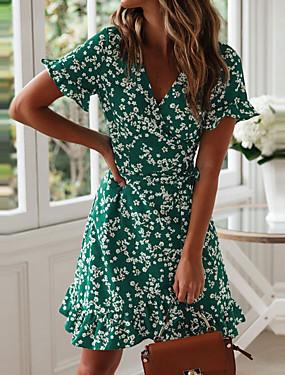 Недорогие Женская одежда-Жен. А-силуэт Платье - Короткие рукава Цветочный принт Глубокий V-образный вырез Зеленый Темно синий S M L XL XXL