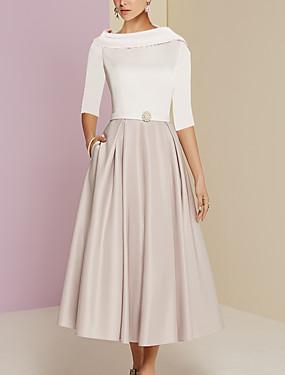 ieftine Noutăți-Linia -A Bijuterie Lungime Tea Charmeuse Manșon Jumate Elegant Rochie Mama Miresei cu Pliuri Ziua Mamei 2020