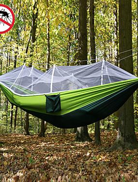 cheap Sports & Outdoors-Camping Hammock with Mosquito Net Double Hammock Outdoor Ultra Light Portable Breathable Anti-Mosquito Parachute Nylon with Carabiners and Tree Straps 2 person Camping Hiking Hunting Army Green