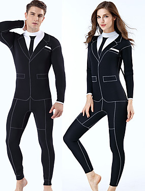 cheap Sports & Outdoors-MYLEDI Men's Women's Full Wetsuit 3mm SCR Neoprene Diving Suit Windproof Anatomic Design Stretchy Long Sleeve Back Zip - Diving Water Sports Solid Colored Autumn / Fall Spring Summer / Winter