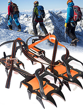 cheap Sports & Outdoors-Traction Cleats Crampons Spikes Ice Gripper Cleats 12 Teeth Professional Adjustable Anti-skidding Stainless Steel Nylon Hiking Climbing Camping Outdoor Walking Orange / Black 2 pcs