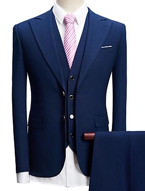 זול חנות החתונות-טוקסידו גזרה מחוייטת סגור Single Breasted Two-button פוליאסטר עם טקסטורה / בריטי / אופנתי