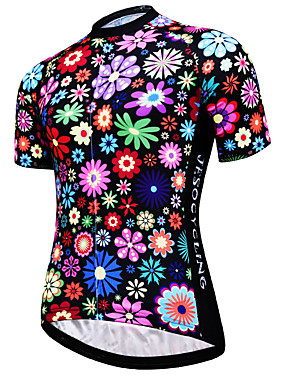 cheap Sports & Outdoors-JESOCYCLING Women's Short Sleeve Cycling Jersey Rainbow Floral Botanical Plus Size Bike Jersey Top Mountain Bike MTB Road Bike Cycling Breathable Quick Dry Ultraviolet Resistant Sports Clothing
