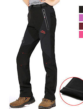 cheap Sports & Outdoors-Women's Hiking Pants Softshell Pants Winter Outdoor Thermal / Warm Waterproof Windproof Breathable Softshell Pants / Trousers Bottoms Camping / Hiking Hunting Fishing Red black Black Purple M L XL