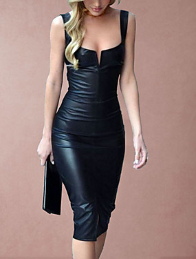 hesapli Parti Gecesi-Kadın's 2020 Siyah Elbise Seksi İlkbahar yaz Parti Bandaj Kılıf Tek Renk Camisole Derin U Plastik Damla S M / Sexy