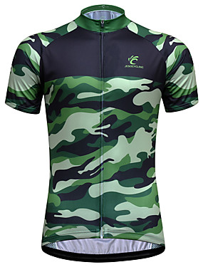 cheap Sports & Outdoors-JESOCYCLING Men's Short Sleeve Cycling Jersey Green Camo / Camouflage Bike Jersey Top Mountain Bike MTB Road Bike Cycling Breathable Quick Dry Ultraviolet Resistant Sports Clothing Apparel / Stretchy