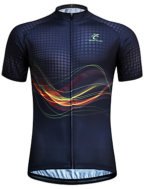 cheap Sports & Outdoors-JESOCYCLING Men's Women's Short Sleeve Cycling Jersey Black Stripes Plus Size Bike Jersey Top Mountain Bike MTB Road Bike Cycling Breathable Quick Dry Ultraviolet Resistant Sports Clothing Apparel