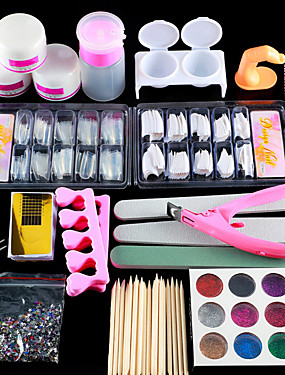 cheap Nail Kits & Sets-Nail Designs 2020 Acrylic Nail Art Kit Manicure Set 12 Colors Nail Glitter Powder Decoration Acrylic Pen Brush Nail Art Tool Kit For Beginners Arylic Liquid Nail Kit