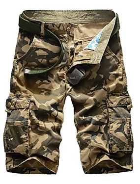 "cheap Sports & Outdoors-Men's Hiking Shorts Hiking Cargo Shorts Summer Outdoor 10"" Standard Fit Breathable Quick Dry Sweat-wicking Comfortable Shorts Bottoms Camping / Hiking Hunting Fishing Jungle camouflage Black Blue 29"