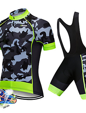 cheap Sports & Outdoors-21Grams Men's Short Sleeve Cycling Jersey with Bib Shorts Spandex Polyester White Black Patchwork Camo / Camouflage Bike Clothing Suit UV Resistant Breathable 3D Pad Quick Dry Sweat-wicking Sports