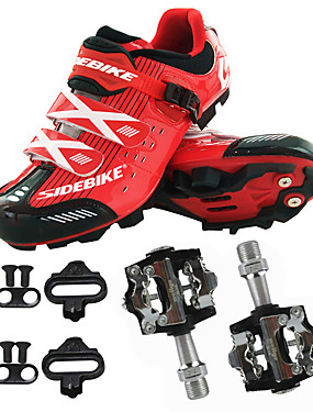 cheap Sports & Outdoors-Men's Cycling Shoes With Pedals & Cleats Mountain Bike Shoes Nylon, Fiberglass, Air-flow vents, Non-Slip tread Mountain Bike / MTB Road Cycling Wearable Synthetic Microfiber PU Black / Red