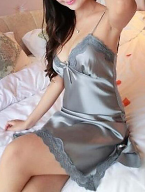 cheap Pajamas-Women's Lace Super Sexy Satin & Silk / Suits Nightwear Solid Colored Red Gray Purple S M L / Deep V