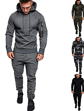 cheap Sports & Outdoors-Men's 2-Piece Tracksuit Sweatsuit Casual Long Sleeve Thermal / Warm Breathable Moisture Wicking Running Active Training Fitness Jogging Sportswear Athletic Clothing Set Athleisure Wear Dark Grey
