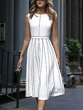 cheap Down to $2.99-Women's A Line Dress - Sleeveless Striped Spring & Summer Elegant 2020 White M L XL XXL XXXL