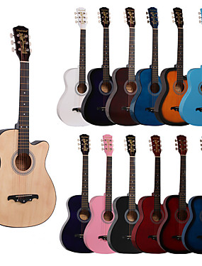cheap Musical Instruments-Guitar Colorful for Beginner Wooden Wood Guitar Accessories String Instrument Accessories Musical Instrument & Orchestra Accessories Hobbies & Creative Arts Arts & Entertainment 38 Inch Professional