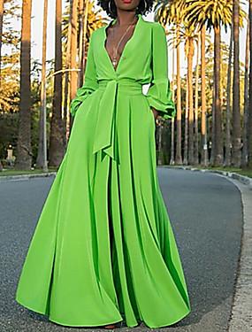 billige Ned til $ 2,99-Dame Maxi Grøn Kjole Gade A-linje Ensfarvet Dyb V S M