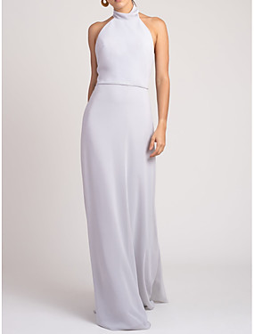 preiswerte Der Hochzeitsladen-Eng anliegend Halter Boden-Länge Chiffon Brautjungfernkleid mit Schleife(n)