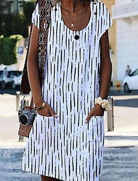 Недорогие Женская одежда-Жен. А-силуэт Платье - Короткие рукава Геометрический принт Белый Синий Оранжевый S M L XL XXL XXXL XXXXL XXXXXL