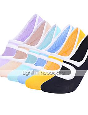 cheap Sports & Outdoors-Yoga Socks Women's Socks Breathable Moisture Wicking Non Slip Ballet Dance Bikram Sports Solid Color Polyester / Cotton Black Purple Orange / Stretchy