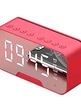 cheap Hifi player-Bluetooth Speaker with FM Radio LED Mirror Alarm Clock Subwoofer Music Player Snooze Desktop Clock Wireless