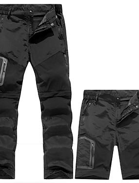 cheap Sports & Outdoors-Men's Hiking Pants Convertible Pants / Zip Off Pants Summer Outdoor Waterproof Windproof Breathable Quick Dry Pants / Trousers Convertible Pants Bottoms Running Camping / Hiking Hunting Black Army