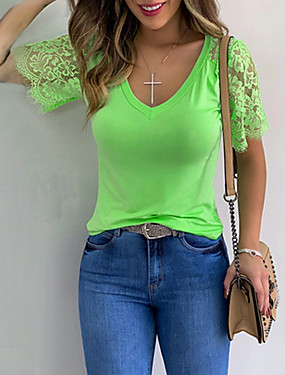 cheap Women's Clothing-Women's Solid Colored T-shirt Daily Black / Yellow / Blushing Pink / Orange / Green
