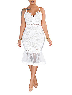 cheap UNDER $9.99-Women's Sheath Dress - Sleeveless Solid Colored Lace Strap Cocktail Party Slim White Black S M L XL XXL