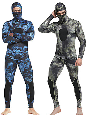 cheap Sports & Outdoors-MYLEDI Men's Full Wetsuit 1.5mm SCR Neoprene Diving Suit Windproof Anatomic Design Long Sleeve Back Zip Camo / Camouflage Autumn / Fall Spring Summer / Winter / Stretchy