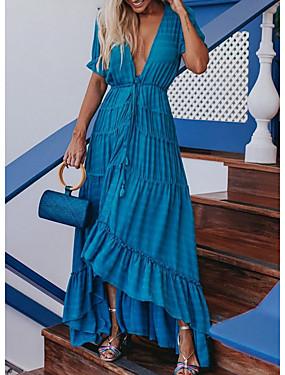 cheap Women's Clothing-Women's Sheath Dress Maxi long Dress - Short Sleeves Solid Color Summer Elegant 2020 White Blue S M L XL