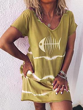 levne Dámské Oděvy-Dámské 2020 Fialová Žlutá Léto Šaty Na běžné nošení Šik ven A Line Tisk S M