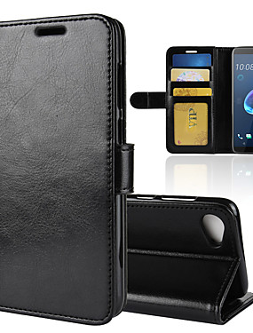 cheap Other Phone Case-Case For HTC HTC U11 plus / HTC U11 Life / HTC U11 Eyes Wallet / Card Holder / Shockproof Full Body Cases Solid Colored PU Leather
