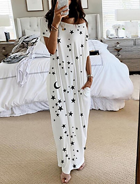 cheap Women's Clothing-Women's Shift Dress Maxi long Dress - Short Sleeves Print Summer Elegant 2020 White Blue Blushing Pink Light gray S M L XL