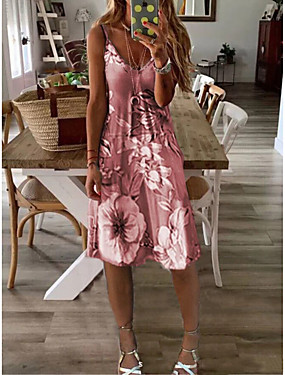 cheap Women's Clothing-Women's Sundress Knee Length Dress - Sleeveless Floral Print Summer V Neck Sexy Holiday Vacation 2020 Wine Purple Yellow Gray S M L XL XXL XXXL