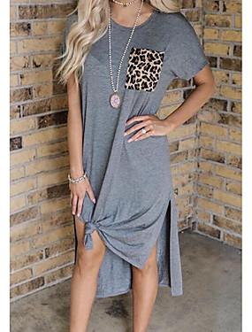 halpa Naisten vaatteet-Naisten Väljä mekko Maksimekko - Lyhyt hiha Leopardi Kesä Tyylikäs Löysä 2020 Harmaa S M L XL XXL XXXL